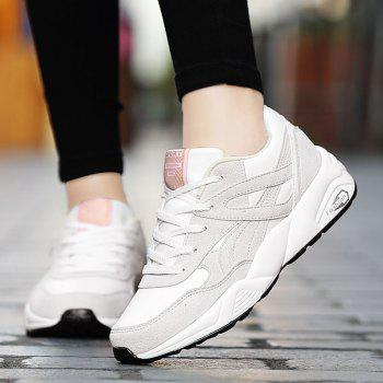 2018 Fashion Pig Leather Women Sports Shoes - WHITE 36