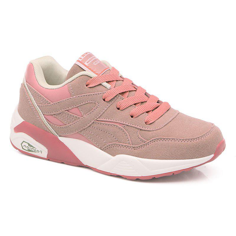 2018 Fashion Pig Leather Women Sports Shoes - PINK 38