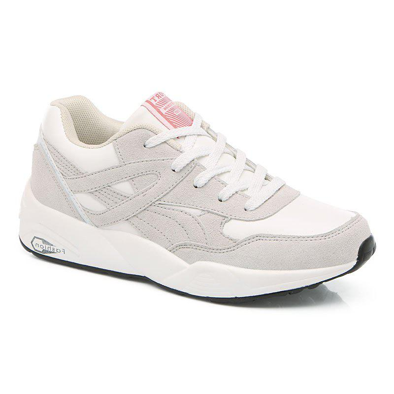 2018 Fashion Pig Leather Women Sports Shoes - WHITE 35