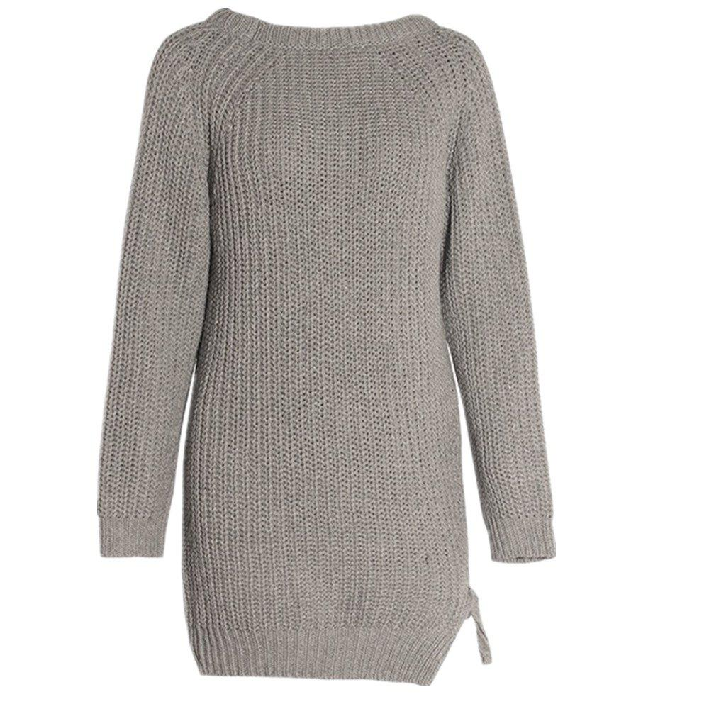 Loose Irregular Pullover Sweater Dress - GRAY S