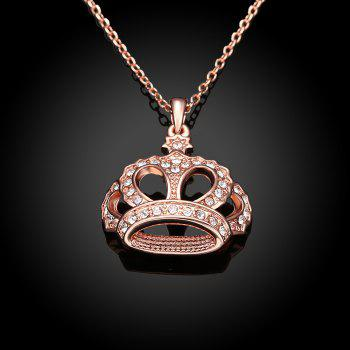 Fashion Crown Czech Drill Pendant Neckalce Charm Jewelry - ROSE GOLD