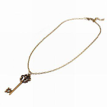 Punk Style Vintage Key Shape Pendant Necklace Charm Jewelry - GOLDEN