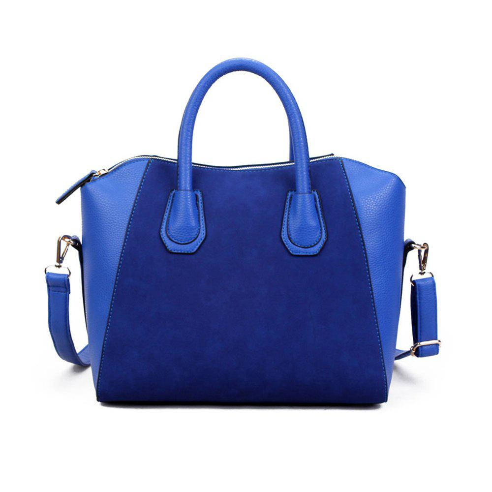 Frosted Smiley Face PU Vintage Lady Handbag - BLUE