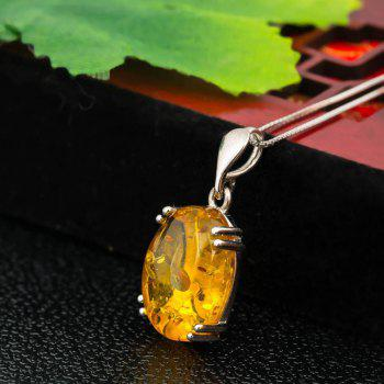 Amber Silver Pendant36091 Gift Jewelry - MAIZE PENDANT: 18X13MM, NECKLACE: 43CM