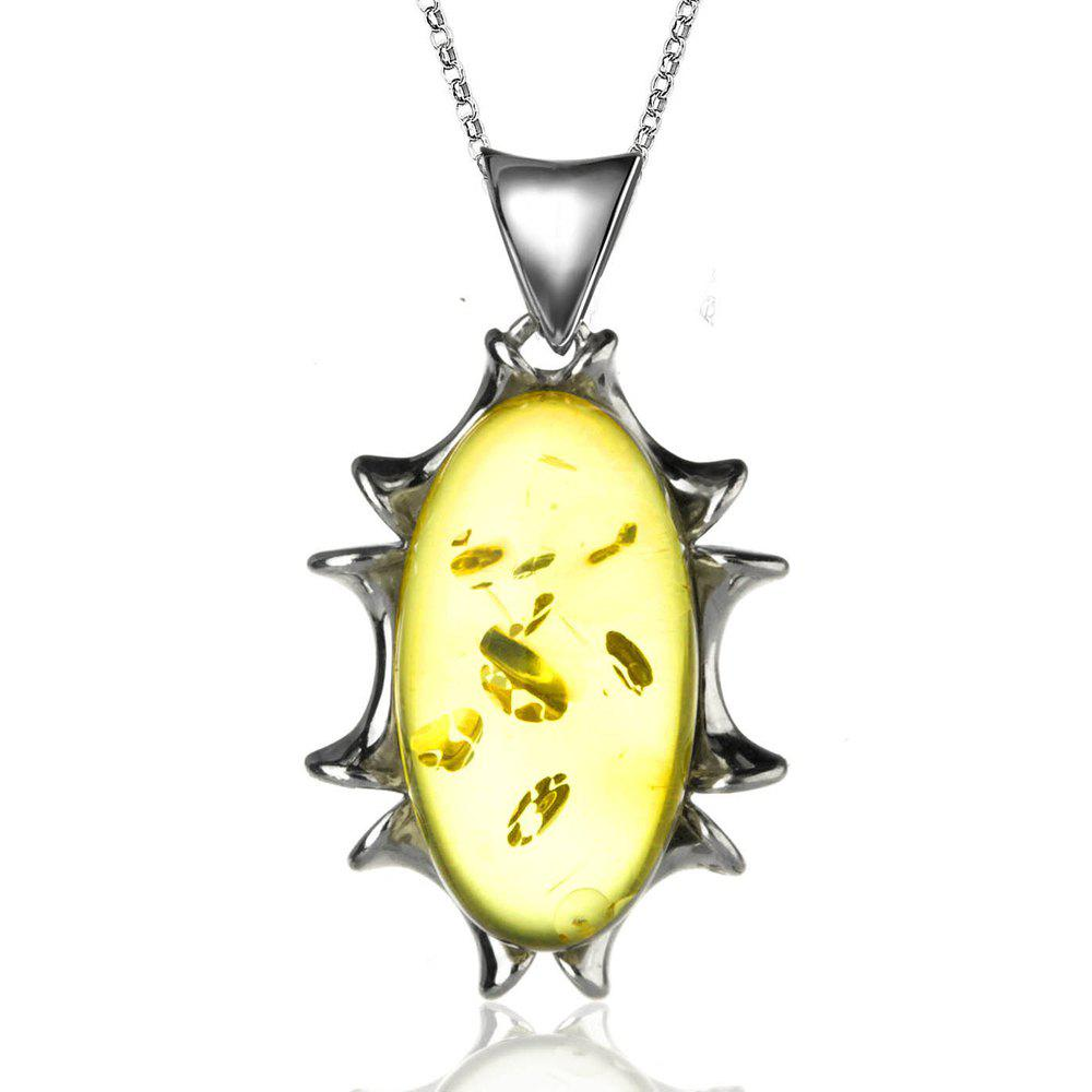 Amber Silver Pendant36090 Gift Jewelry - MAIZE PENDANT: 28X18MM, NECKLACE: 43CM