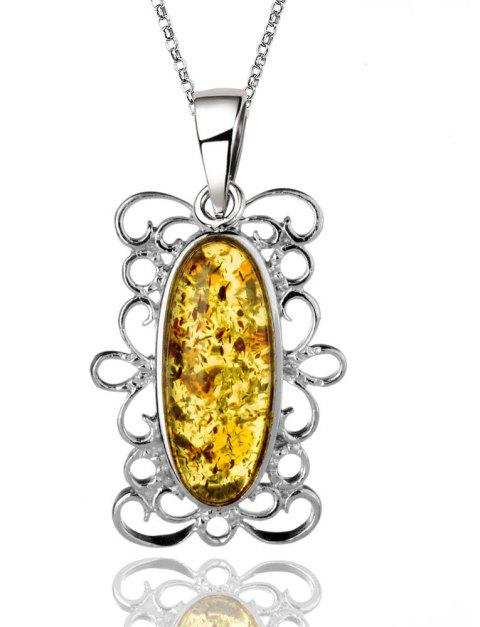 Amber Silver Pendant36097 Gift Jewelry - MAIZE PENDANT: 37X19MM, NECKLACE: 40CM