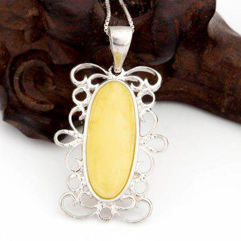 Amber Silver Pendant36102 Gift Jewelry - MAIZE PENDANT: 37X19MM, NECKLACE: 40CM