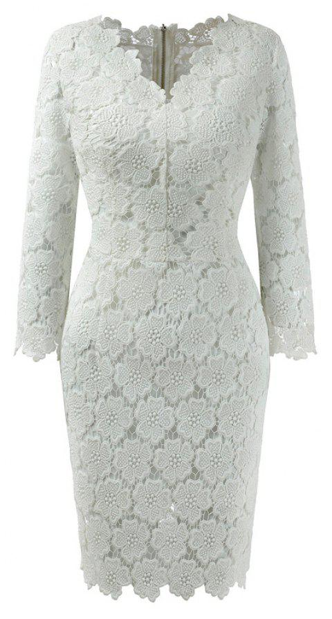 2018 Women's Bodycon Hollow Out V-Neck Lace Party Dress - WHITE M