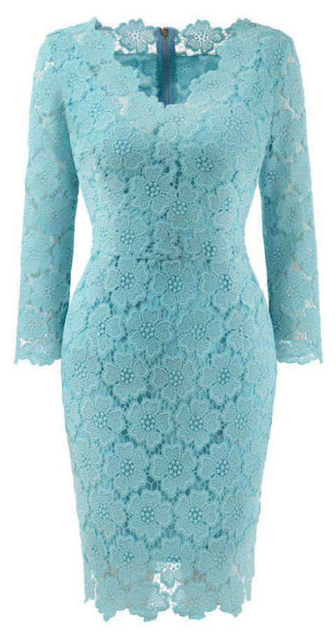 2018 Women's Bodycon Hollow Out V-Neck Lace Party Dress - WATER BLUE S
