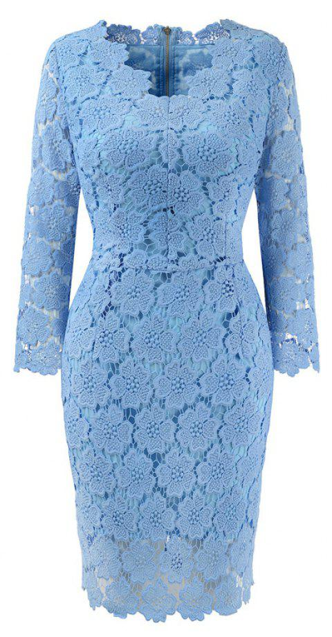 2018 Women's Bodycon Hollow Out V-Neck Lace Party Dress - WINDSOR BLUE L