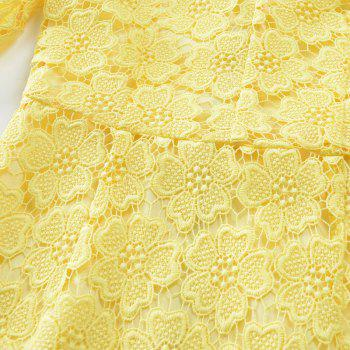 2018 Women's Bodycon Hollow Out V-Neck Lace Party Dress - YELLOW M