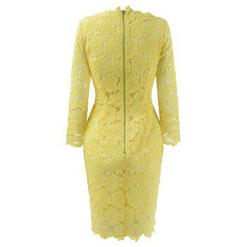 2018 Women's Bodycon Hollow Out V-Neck Lace Party Dress - YELLOW L