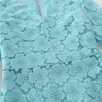 2018 Women's Bodycon Hollow Out V-Neck Lace Party Dress - WATER BLUE XL