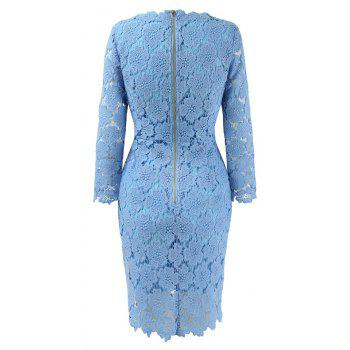 2018 Women's Bodycon Hollow Out V-Neck Lace Party Dress - WINDSOR BLUE S