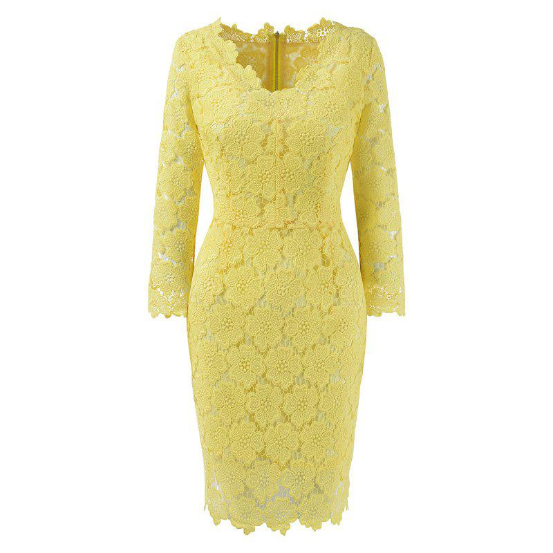 2018 Women's Bodycon Hollow Out V-Neck Lace Party Dress - YELLOW 2XL