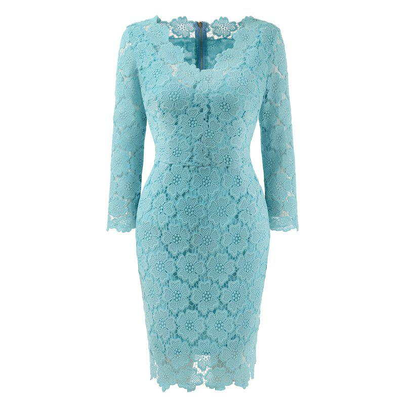 2018 Women's Bodycon Hollow Out V-Neck Lace Party Dress - WATER BLUE 2XL