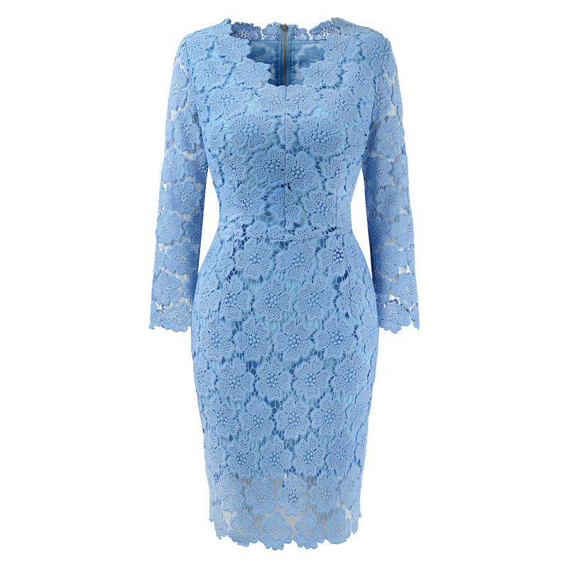 2018 Women's Bodycon Hollow Out V-Neck Lace Party Dress - WINDSOR BLUE XL