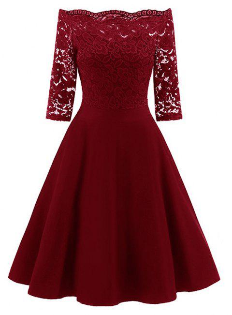 Women's Fashion Off Shoulder Elegant Lace Dress - WINE RED S