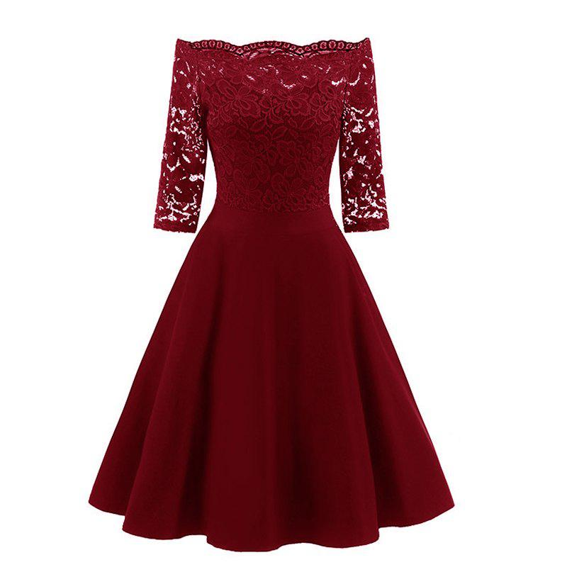 Women's Fashion Vintage Off Shoulder Elegant Lace Dress - WINE RED XL