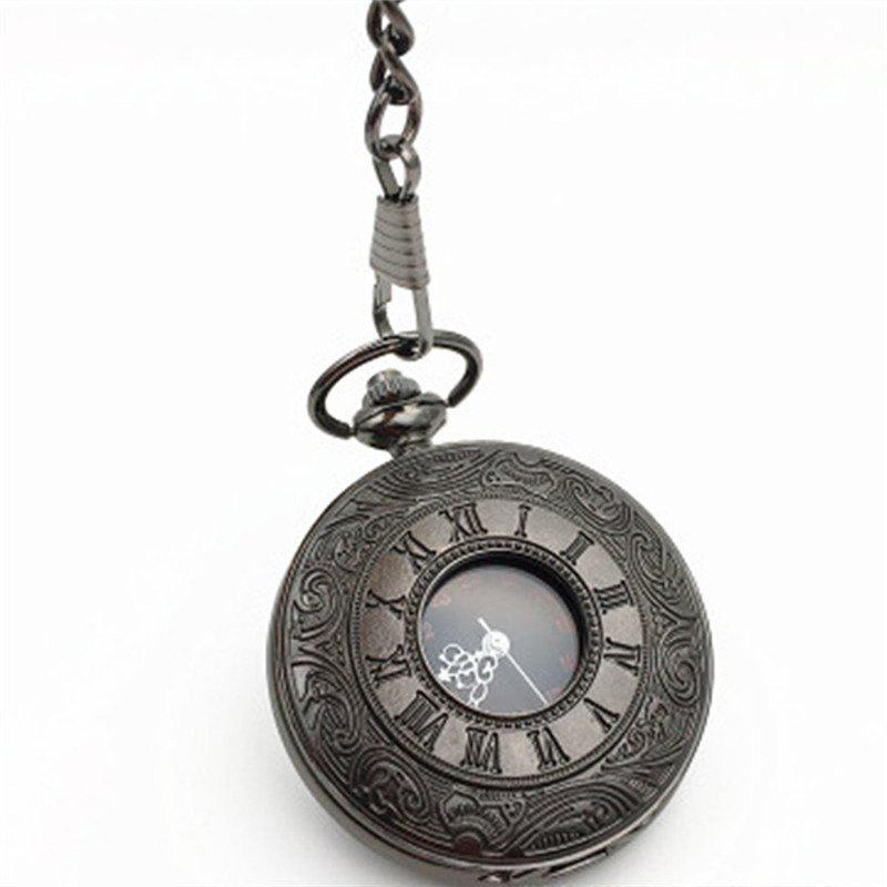Charm Unisex Fashion Roman Number Quartz Steampunk Pocket Watch - BLACK