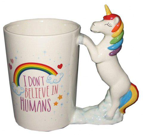 Tasse Licorne Creative changeant couleur café tasses coloré coloré coupe crémeuse Cartoon Magic cadeau de Noël - Blanc