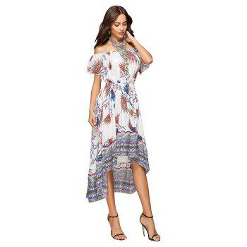 Printing Irregular Boat Neck Elastic Waist Dress with Short Sleeves - WHITE XL