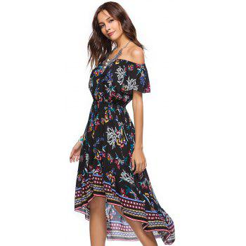 Printing Irregular Boat Neck Elastic Waist Dress with Short Sleeves - BLACK L