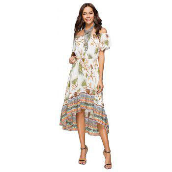 Printing Irregular Boat Neck Elastic Waist Dress with Short Sleeves - GREEN M