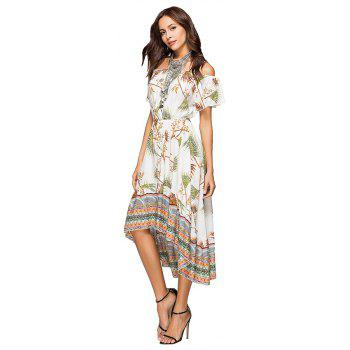 Printing Irregular Boat Neck Elastic Waist Dress with Short Sleeves - GREEN L