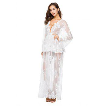 Falbala Bud Silk V-Neck Long-Sleeve Dress - WHITE M