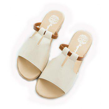 Women Summer Non-slip Slippers Casual PU Sandals - BEIGE SINGLE 35
