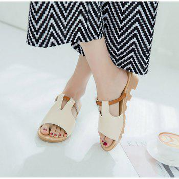 Women Summer Non-slip Slippers Casual PU Sandals - BEIGE SINGLE 36