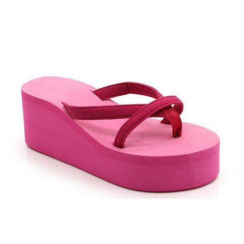Ladies Solid Color Beach Sandals Fashion Thick Bottom Slippers - ROSE MADDER 36
