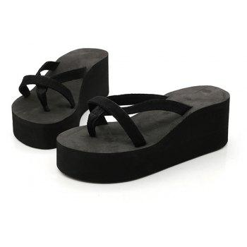 Ladies Solid Color Beach Sandals Fashion Thick Bottom Slippers - BLACK 42
