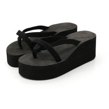 Ladies Solid Color Beach Sandals Fashion Thick Bottom Slippers - BLACK 38