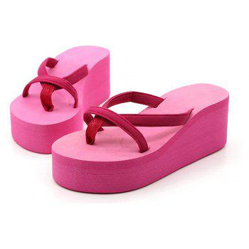 Ladies Solid Color Beach Sandals Fashion Thick Bottom Slippers - ROSE MADDER 39