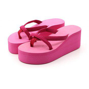 Ladies Solid Color Beach Sandals Fashion Thick Bottom Slippers - ROSE MADDER 40