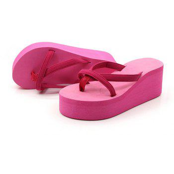 Ladies Solid Color Beach Sandals Fashion Thick Bottom Slippers - ROSE MADDER 38