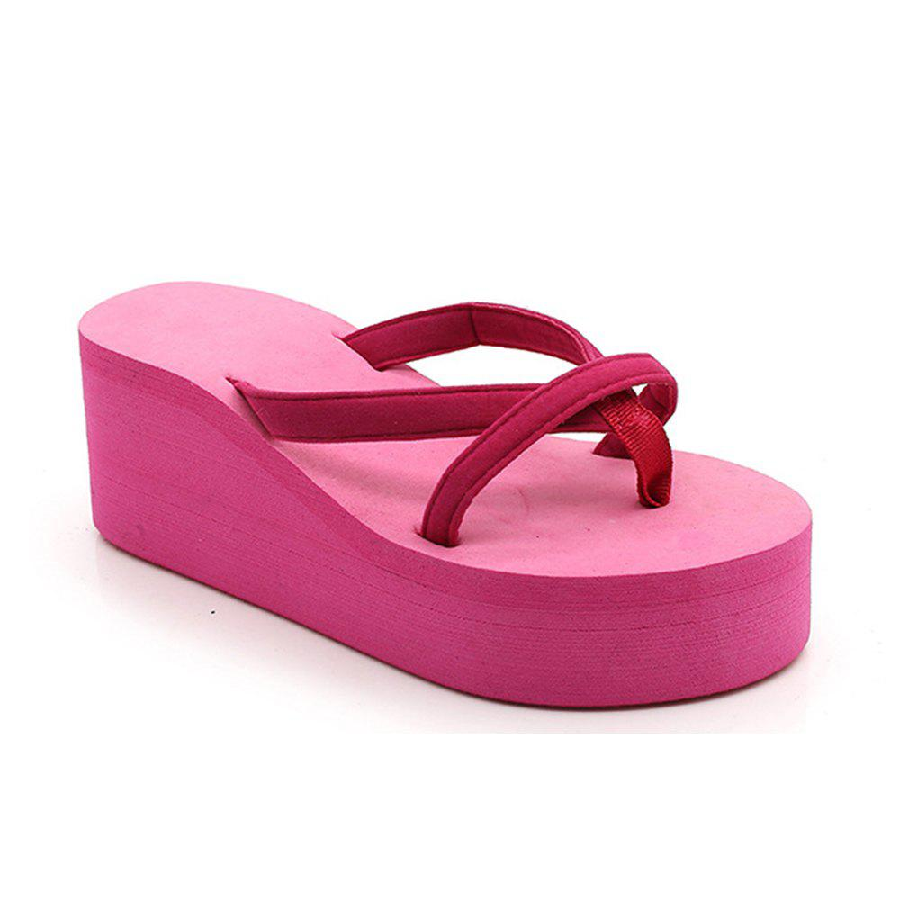 Ladies Solid Color Beach Sandals Fashion Thick Bottom Slippers - ROSE MADDER 37