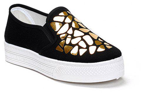 Femmes Paillettes Toile Chaussures Casual Slip-on Sneakers - Noir 36