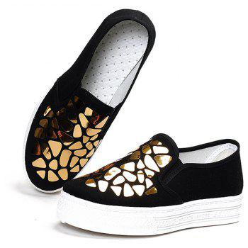 Women Sequined Canvas Shoes Casual Slip-on Sneakers - BLACK 39