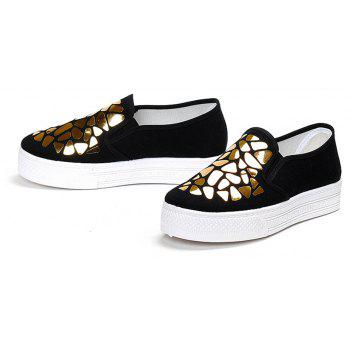 Women Sequined Canvas Shoes Casual Slip-on Sneakers - BLACK 37