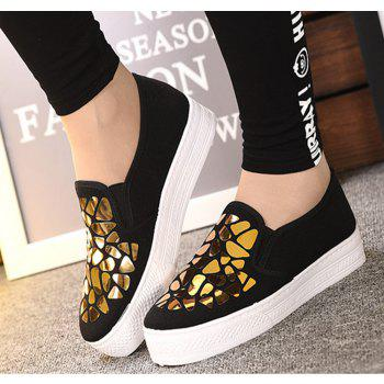 Women Sequined Canvas Shoes Casual Slip-on Sneakers - BLACK 38