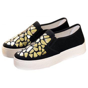 Women Sequined Canvas Shoes Casual Slip-on Sneakers - BLACK 36