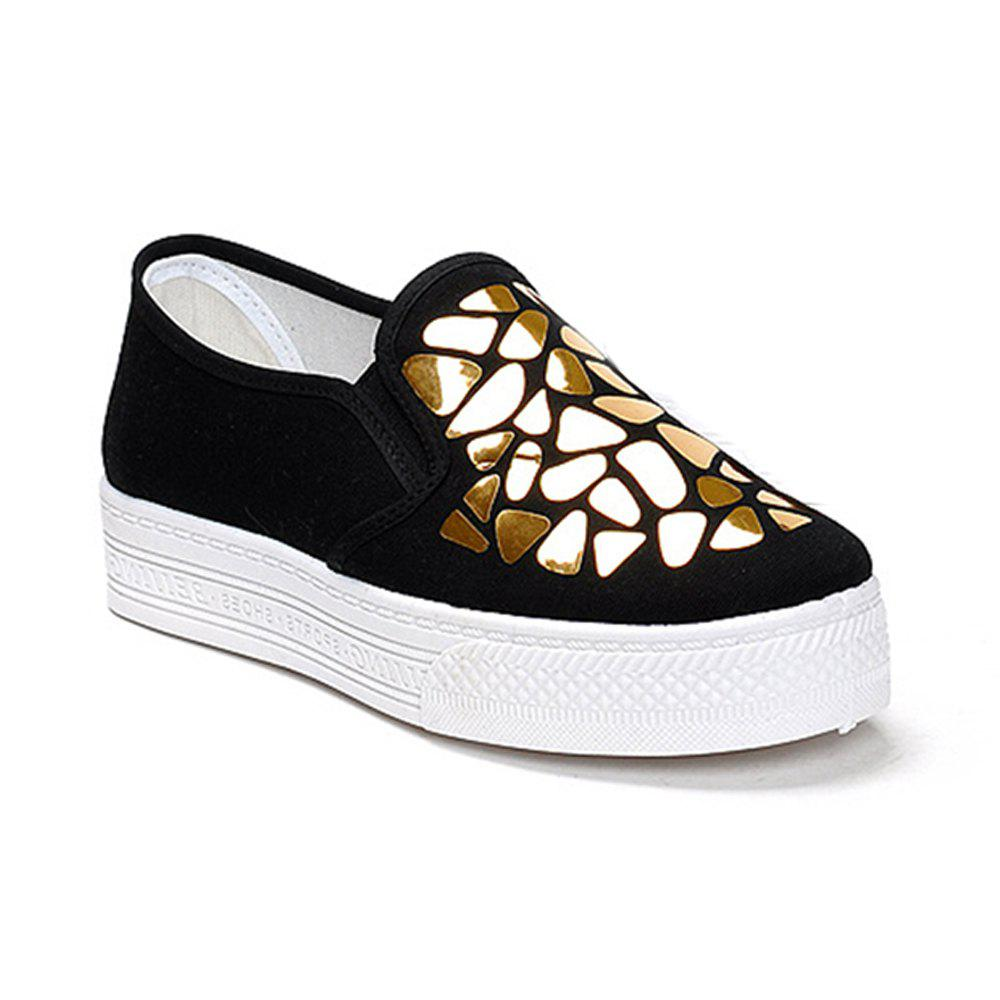 Women Sequined Canvas Shoes Casual Slip-on Sneakers - BLACK 35