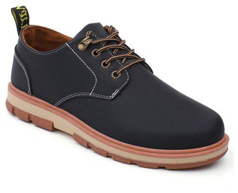 Men Business Casual Fashion Leather Workers Shoes - BLACK 40