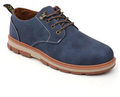 Men Business Casual Fashion Leather Workers Shoes - BLUE 40