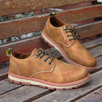 Men Business Casual Fashion Leather Workers Shoes - LIGHT BROWN 41