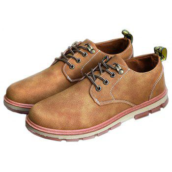 Men Business Casual Fashion Leather Workers Shoes - LIGHT BROWN 39