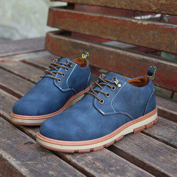 Men Business Casual Fashion Leather Workers Shoes - BLUE 43